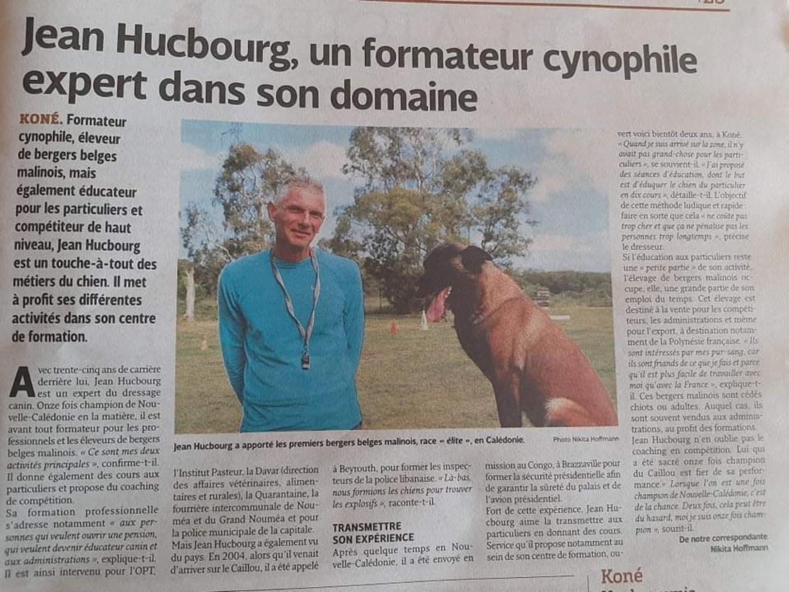Les Nouvelles Caledoniennes Article sur Jean Hucbourg avec Nikita